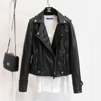 Leather Jackets Women 2016 Spring Autumn Rivet Zipper Motorcycle Faux Leather Coat Female Paragraph Lapel PU Jacket