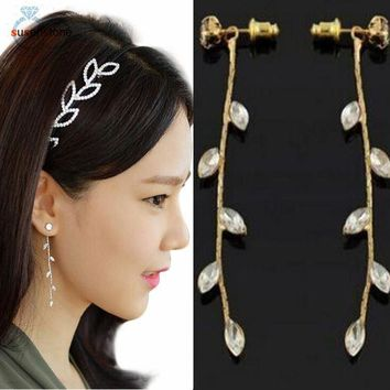 DCCKJY1 SUSENSTONE Willow leaves Fashion Long Chain Dangle Earrings Cute Jewelry