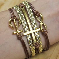 ancient  gold Bracelets, jewelry, bangle, anchor bracelets,cross bracelets,gold rope,bracelets  for men,gifts idea s0028