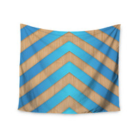 "Marta Olga Klara ""Turquoise Chevron"" Blue Brown Wall Tapestry"