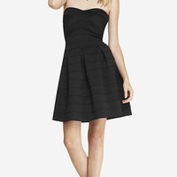 ELASTIC FIT AND FLARE DRESS - BLACK from EXPRESS