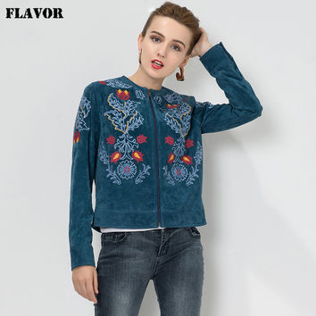 Women's Embroidery Pig skin Genuine leather jacket motorcycle jacket bomber jacket motorcycle coat