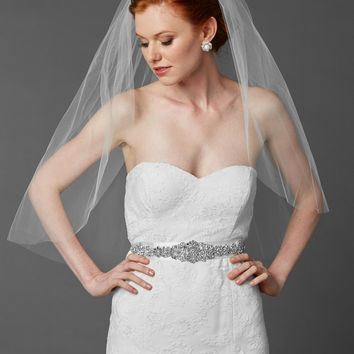 Elbow Length Veil with Cut Edge