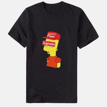 "Fashion "" supreme"" print Creative loose T-shirt top black"