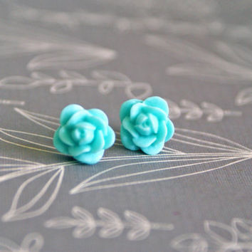 Petite Mint Rose Cabochon Earrings