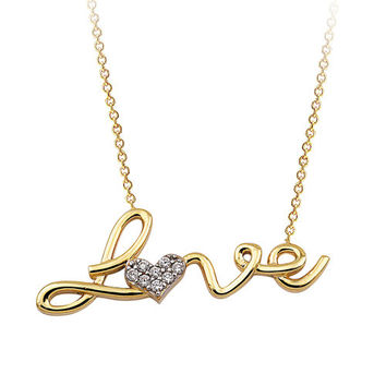Love 14k Solid Gold Necklace Signity Cubic Zirconia Stones