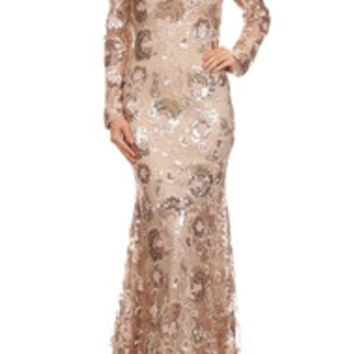 Long Rose Gold Evening Gown