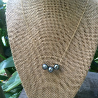 Floating Triple Tahitian Black Pearl Necklace
