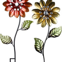 Large Metallic Flower Stakes (Set of 3) only $74.99 at Garden Fun - Valentine Garden Gifts