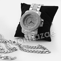 HIP HOP ICED OUT RAONHAZAE 50 CENT SILVER LAB DIAMOND WATCH MIAMI CUBAN CHAIN