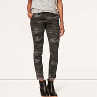 Camo Print Tailored Twill Skinny Pants in Julie Fit
