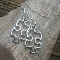 Autism awareness. Puzzle earrings. Autism jewelry. April Autism awareness month. Autism mom . Nickel free hooks. Limited item