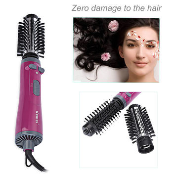 Kemei KM - 8000 Professional Auto-rotating Electric Comb Hairbrush Blow Dryer Wand Hair Curler Iron Roller Styling Tools EU PLUG