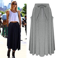 Bowknot Solid Side Pockets Pleated Long Skirt