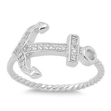925 Sterling Silver CZ Anchor of My Soul Ring 13MM
