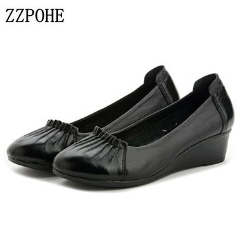 ZZPOHE Autumn High Heels Women Genuine Leather Wedges Shoes Woman Fashion Casual Pumps Single Shoes Plus Size Female Work shoes