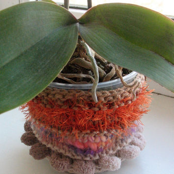 Flower Pot Cover Small Planter Brown Plant Pot Succulent Planter Housewarming Gift Decorative Container Fabric Home Decor Knitted Cozy