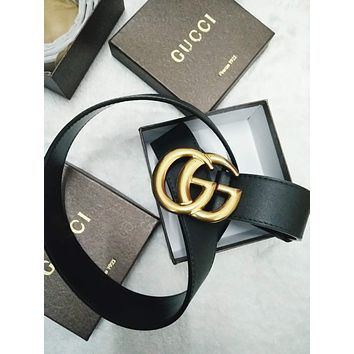GUCCI Fashion Trending Belt man leather belt double g smooth buckle belt Black +Girl Box G