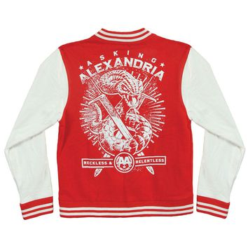 Asking Alexandria Men's  Snake Varsity Jacket Red Rockabilia