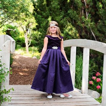 Dark Purple Amelia Classic Velvet & Satin Dress & Sash - Toddler, Girls & Juniors