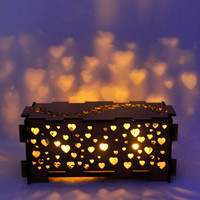 Heart wood night light box lamp trinket storage box by dirtbyearth