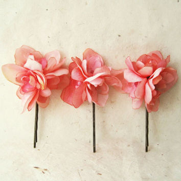 Best silk flower hair pins products on wanelo coral pink flower hair pin peach blush and coral floral bouque accessories mightylinksfo