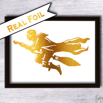 Harry Potter art poster Harry Potter print Real gold foil decor Harry Potter real foil art Home decoration Kids room decor Wall hanging G9