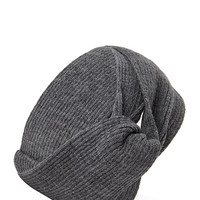 FOREVER 21 Ribbed Knot Headwrap Grey One