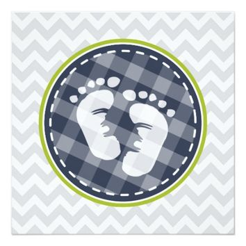 Navy Blue, Lime Green Gray Chevron Baby Shower 5.25x5.25 Square Paper Invitation Card