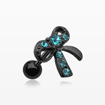 Blackline Lacy Bow Tie Cartilage Earring