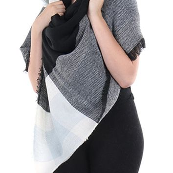 Mulit Color Checkered Soft Knit Shawl Scarf