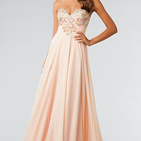 JVN by Jovani Strapless Floor Length Prom Dress