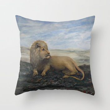 King of the Land- Leo the Lion -final finished painting Throw Pillow by RokinRonda | Society6