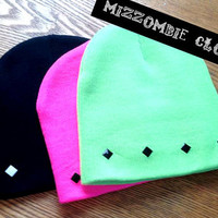 STUDDED BEANIE grunge alternative mizzombie hat, winter
