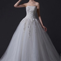 A-Line Modest French Lace Wedding Dress Princess Gown