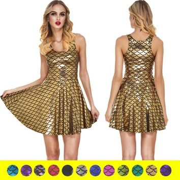 Women's Shiny Mermaid Sleeveless Short Tank Dresses