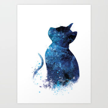 Blue Cat Art Print by monnprint