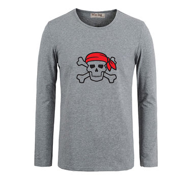 Pirate Punisher Skull Marvel Men Customized Cotton Long Sleeve Tops Tees  for Boy Casual Clothing Anime cosplay family T shirt