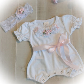 Newborn Take Home Outfit, Baby Girl Romper Headband Set, Newborn Girl Romper Outfit