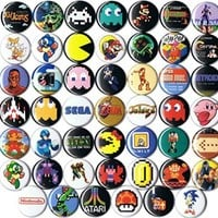 "Huge Wholesale Lot of 48 Classic Video Game 1"" pins/buttons/badges"