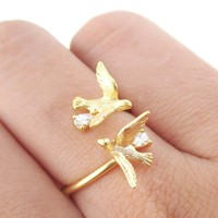 Love Birds Wrapped Around Your Finger Adjustable Ring in Gold