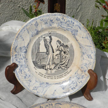 French vintage 'talking plate' by French manufacturer Creil et Montereau, French wall plate, french antique, crazed plate, shabby chic plate