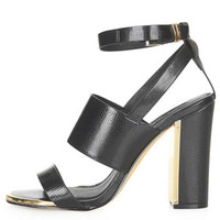 RIOT Metal Trim High Heel Sandals - Black