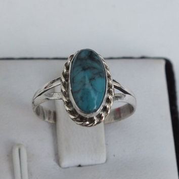 Turquoise and Sterling Silver Size 5 1/2 Statement Ring With Wavy Side Accents, Precious Metal Ladies Jewelry, Free Shipping and Gift Box