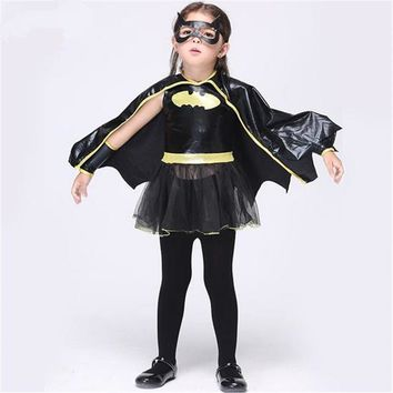 Free shipping Christmas Fancy Masquerade Party Batman Bat Girl Costume Children Cosplay Dance Dress Costumes for Kids Halloween