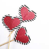 Striped Glitter Heart Cupcake Toppers - 12 Black, White, Red Valentine's Toppers - Valentine's Day // Birthday Party