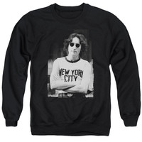 JOHN LENNON/NEW YORK-ADULT CREWNECK SWEATSHIRT-BLACK