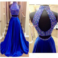 Two Piece Royal BLe A-Line Beading Prom Dresses Evening Dresses