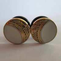 Gold and Ivory Crescent Moon Button Plugs - Available in 0g, 00g, 7/16 in, and 1/2 in.