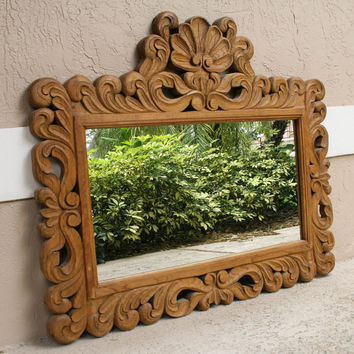 Large Vintage Hand Carved Solid Wood Mirror